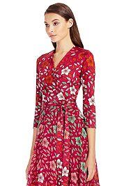 Irina Silk and Chiffon Combo Wrap Dress | by DVF