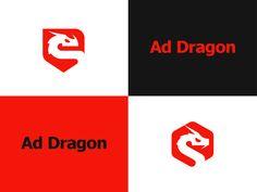 Logo made for Ad Dragon by Kreatank #logo #dragon #shield #hexagon #brand #identity #brandidentity #red #negative #space #negativespace #kreatank #creative #emblem #badge
