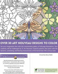 Creative Haven Art Nouveau Patterns Coloring Book Dover Publications