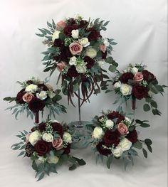 Cream Flowers, Flower Bouquet Wedding, Dusty Pink, Floral Wreath, Burgundy, Wreaths, Bridal, Home Decor, Homemade Home Decor