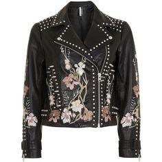 Topshop Embroidered Leather Jacket (£295) ❤ liked on Polyvore featuring outerwear, jackets, topshop, biker, floral print jacket, zip up jackets, biker jacket, embroidery jackets and leather jackets