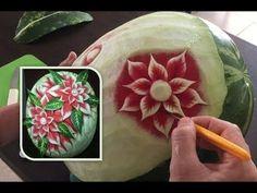 #57 Simple flower on watermelon / Prosty kwiat rzeźbiony w arbuzie - YouTube