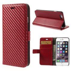 Köp Plånboksfodral Apple iPhone 6 Carbon röd online: http://www.phonelife.se/planboksfodral-apple-iphone-6-carbon-rod