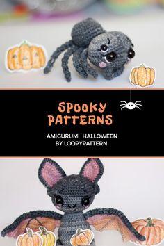 2 in 1 HALLOWEEN PATTERN crochet Bat pdf how crochet Spider tutorial diy halloween pattern pdf amigurumi bat vampire halloween spider by LoopyPattern pdf