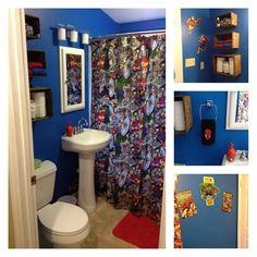 Retro Marvel Bathroom Mom Made The Shower Curtain Spiderman Hooks Wall
