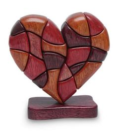 Wood Heart Sculpture Statuette Hand Carved in Peru - Heart of Love