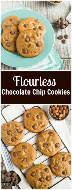 These flourless chocolate chip cookies are gluten free, have only 5 ingredients and are ready in 15 minutes.