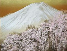 'Mount Fuji and Cherry Blossoms' lithograph by Nori SHIMIZU - Japanese Painting Gallery