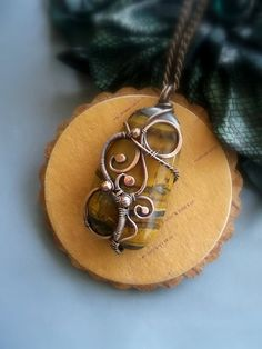 Wire wrapped pendant  Тiger eye pendant  Wire от ElanorStudio