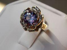 purple raspberry alexandrite flower antique 925 sterling silver ring size 7.5 in Jewelry & Watches, Fine Jewelry, Fine Rings   eBay