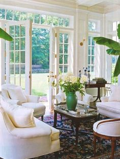 French Doors into a fresh living room