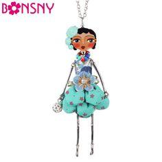 Bonsny muñeca collar hecho a mano colgante de la muñeca de moda de parís 2016 noticias de aleación de mujeres de la muchacha de flor de accesorios de joyería de moda