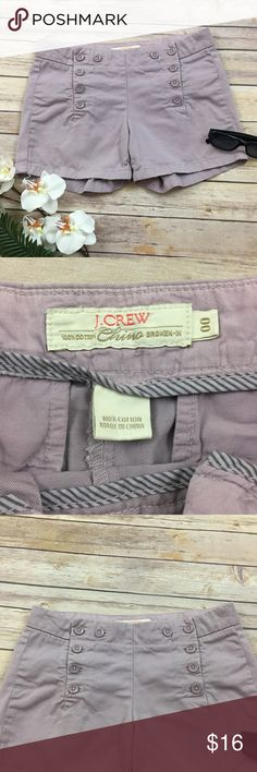 """J. Crew Broken-In Chino Shorts Lilac Purple Sz 00 J. Crew Broken-In Chino Shorts in lilac purple color. Size 00. Cute button front detail. In good used condition. Flat lay measurements: Waist 14.5"""" Inseam 3.75"""" Outseam 11"""" J. Crew Shorts"""
