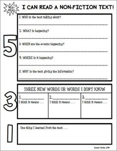 Non-Fiction Text Response Graphic Organizer. 5-3-1. Can be used with any informational text and hits second grade common core reading standard RI.2.1. by gayle
