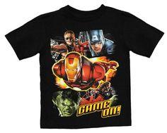 "Marvel Avengers ""Game On"" Black Kids T-Shirt (4) Marvel http://www.amazon.com/dp/B00CMR9EYC/ref=cm_sw_r_pi_dp_GCP0tb0E25JZGB94"