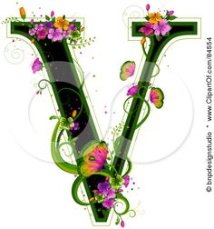 Black Capital  Letter V Outlined In Green with Flowers and Butterflies