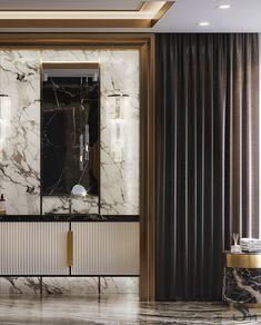 Portfolio: Country House in the USA Washroom Design, Bathroom Interior Design, Decor Interior Design, Interior Design Living Room, Living Room Designs, Tv Wall Design, Ceiling Design, House Design, Marble Interior