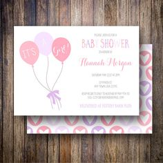 Balloons Baby Shower Invitation, Balloons Baby Shower Invite, Pink Balloons, It's a Girl Invitation, Printable Balloon Baby Shower Invitation - It's a Girl in Pink, Purple - Spotted Gum Design - Etsy