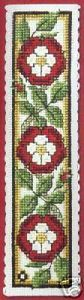 Textile Heritage HERALDIC ROSE Bookmark Cross Stitch Kit