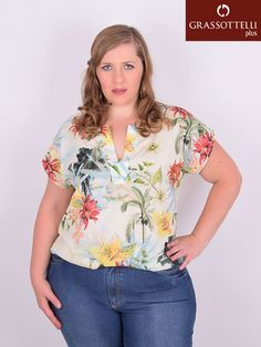 Blusa Manga Japonesa Crepe Estampada Plus Size Camisa Feminina Plus Size, Plus Size Tops, Baby Dress, Casual Looks, Free Printables, Crochet Top, Ideias Fashion, Floral Tops, Womens Fashion