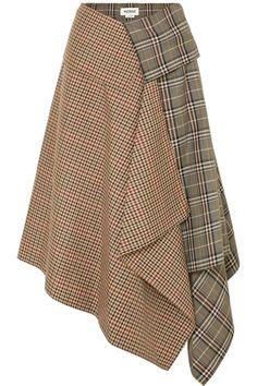 Monse Asymmetric Paneled Checked Wool-blend Midi Skirt - Tan Source by ShopStyle Mode Tartan, Trendy Fashion, Womens Fashion, Fashion Vintage, Vintage Style, Wool Skirts, Ladies Dress Design, Skirt Outfits, Wool Blend