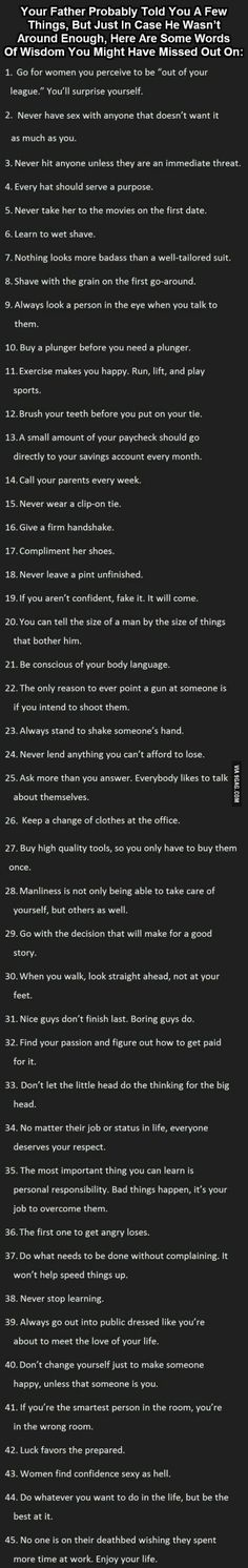 Great things to know. Especially for men.