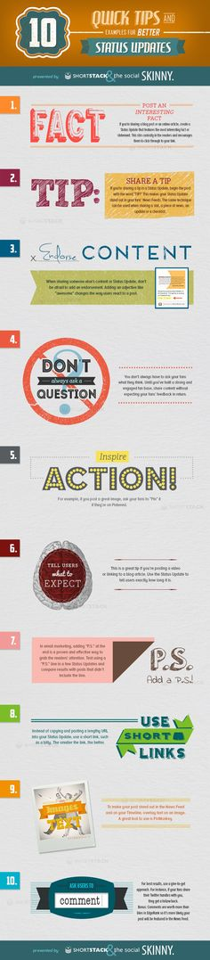 10 Quick Tips And Examples For Better Status Updates. How to improve social media status updates for better engagement. Marketing Trends, Inbound Marketing, Facebook Marketing, Marketing Digital, Content Marketing, Internet Marketing, Online Marketing, Social Media Marketing, Marketing Technology