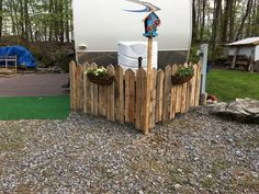 """fence Valuable reference pertaining to Forest Landscaping RV Camping """"Seasonal site ideas"""" RV Camping Seasonal site ideas How to build a portable deck for RV 3 Camper Porch Signs"""