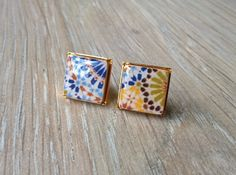 Moroccan tiles replica stud earrings Moroccan tiles small by XTory