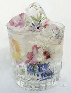 flowers in ice. love this!
