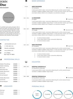 Dark Blue Minimal Resume Template  Modern Clean And Creative