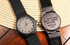 Black Wood Engraved Watch