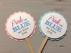 Gender reveal baby shower Cupcake Toppers (Pink or blue, we love you) via Etsy