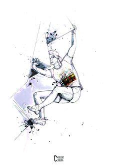 BAS CU' GIRL PRINT, dessin escalade femme bouledring, bloc, draw climbing