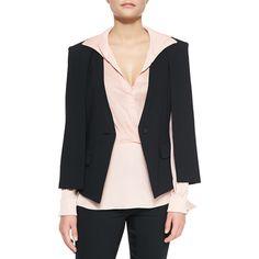 Halston Heritage Jacket W/ Cape Detail ($370) ❤ liked on Polyvore