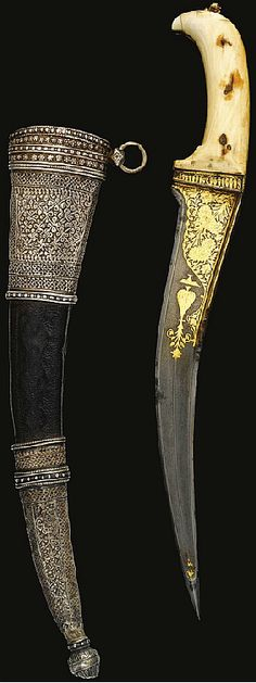 Indian pesh kabz (curved dagger), 18th to 19th c, watered steel blade with double-edged swelled tip, forte with gold-overlaid flowers with vase motif, back edge with stylised palmette and two lobed inscribed cartouches, ivory hilt, scabbard with silver lock and chape, carved with rosettes, foliate and fishscale designs.  forte nscribed:qabzah-ye khanjar jahangir ast garcheh yak-mosht ostokhan bashad, ('The hilt of [this] dagger conquers the world even though it is [made of] a handful of bones.')
