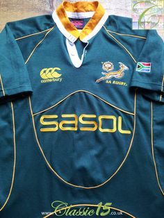 Relive South Africa's international season with this vintage Canterbury home rugby shirt. Vintage Rugby Shirts, Rugby Kit, World Cup Shirts, South Africa Rugby, Canterbury, Sport T Shirt, Shirt Designs, Store, Classic
