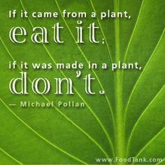 """If it came from a plant, eat it. If it was made in a plant, don't"" - Michael Pollan"