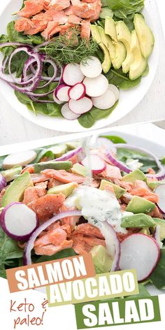 Easy and refreshing summer meal! This keto and paleo salmon salad is packed with nutrients, protein, and healthy fats. A healthy and delicious dinner recipe. #salmonsalad #salmonrecipes #avocado #avocadorecipes #paleorecipes #whole30 #ketodiet