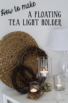 Repurpose part of an old lamp shade into this easy and fun floating tea light holder. Via www.songbirdblog.com