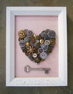 A personal favorite from my Etsy shop https://www.etsy.com/listing/491608708/repurposed-recycled-valentine-button
