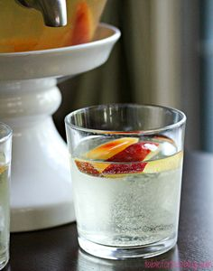 6-8 peaches, sliced 2 bottles of Riesling 1 bottle of Prosecco or sparkling wine ½ bottle of peach vodka (I used Smirnoff)