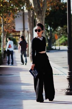Mysterious Black: Cropped Top and Wide Leg Pants