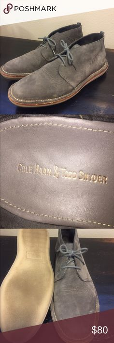 Cole Haan/Todd Snyder Men's  Chukka boot size 10.5 Cole Haan/Todd Snyder Men's  Chukka boot- size 10.5. Very soft Gray tumbled Nubuck Leather. Molded rubber outsoles with crepe texture. Beautiful boot. Excellent Condition. Cole Haan Todd Snyder Shoes Boots
