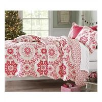 King Cotton Snow Star Quilt With Shams