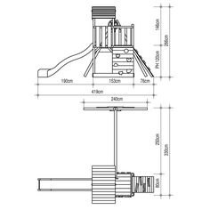 Parque infantil Empire II Torre subibaja hechos de madera sólida natural - GANGAS DE ESPAÑA