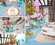 Blue glass, pink flowers, white and camel accents