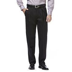 Men's Haggar Premium No Iron Khaki Stretch Classic-Fit Pleated Pants, Size: 38X30, Black