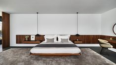 new images offer a first look inside 'francesc macià the luxury residential development designed by marcio kogan and his firm studio Home Decor Bedroom, Master Bedroom, Wall Wardrobe Design, Hotel Room Design, Round Beds, Modern Bedroom Design, Modern Design, Apartment Interior, Interior Design