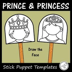 10 prince/princess templates to make stick puppets. 5 boys and 5 girls. Students decide what sort of emotion they would like their prince/princess to have and draw the face accordingly (eg happy, excited, sad, surprised, angry ...) If desired, your